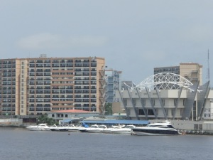 New buildings and yachts on the waterfront