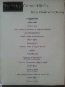 Dubai Chamber Orchestra programme - 25 February 2013