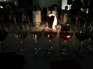 Wine club - it was so dark I could barely see my wine