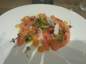 Scottish salmon ceviche with chilli, red onions, sweet potato puree and garden radishes