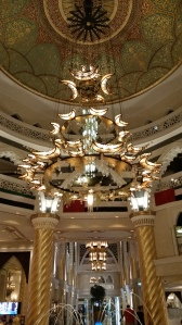 The chandelier in the lobby of the Jumeirah Zabeel Saray